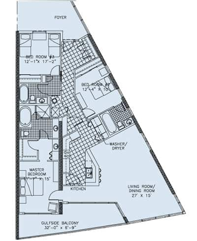 Palazzo, East End Unit, 3 Bedroom