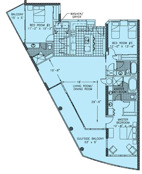 Palazzo, West End Unit, 3 Bedroom