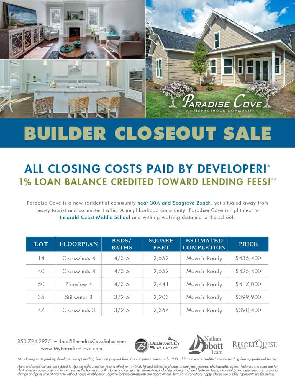 Paradise Cove Builder Closeout sale