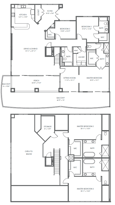 Penthouse D floor plan Palace Sands