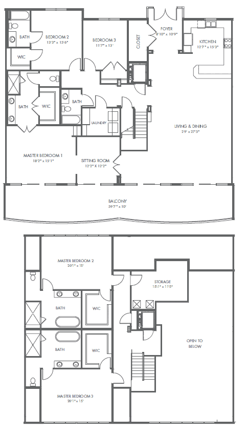 Penthouse E floor plan Palace Sands