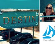 Nathan Abbott Team at ResortQuest Real Estate logo, photo of Nathan and Erin Abbott, photo of Destin, Florida welcome sign.