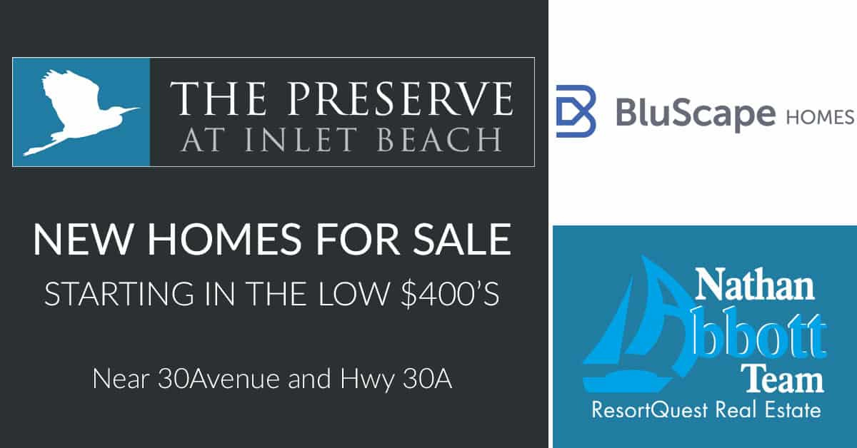 The Preserve at Inlet Beach logo, Blu Scape Group developer logo, Nathan Abbott Team at Resort Quest logo